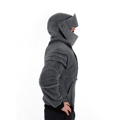 Retro Black or Gray Helmet Hoodie Polyester Jacket Unisex