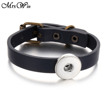 "Leather Snap Button Buckle Bracelet 5 Holes Fits 7""-8 1/2"" Wrist Use 18mm Snap Buttons"