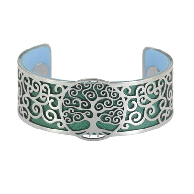 World Tree Stainless Steel Cuff Adjust Bracelet w/ Reversible 2-Color Leather Bands