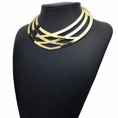 Vintage Crisscross Choker Silver or Gold Alloy Statement Necklace