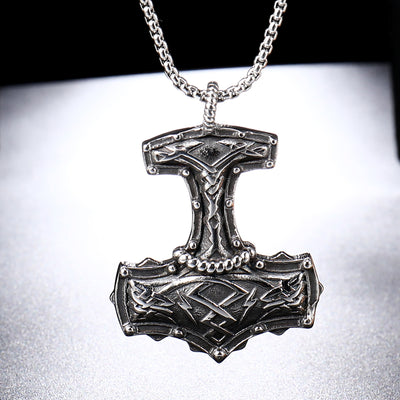 "Thor's Hammer Silver-tone Pendants 24"" Chain Stainless Steel Necklace Unisex"