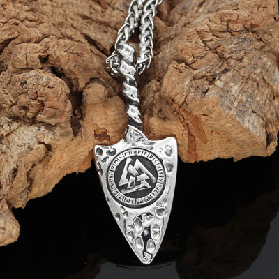 "Hammered Valknut & Rune Silver Viking Pendant Stainless Steel 24"" Necklace Unisex"