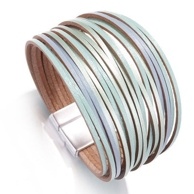 Classic Multi-Layer Leather Bracelet Gray Green Blue Pink Unisex