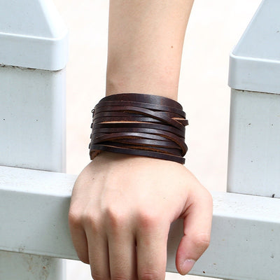 "Braided Leather Cuff  Black or Brown 9 "" Snap Adjustable Bracelet Unisex"