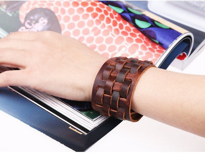 "Cool Wide Woven Brown Leather 9 "" Cuff Snap Bracelet Unisex"