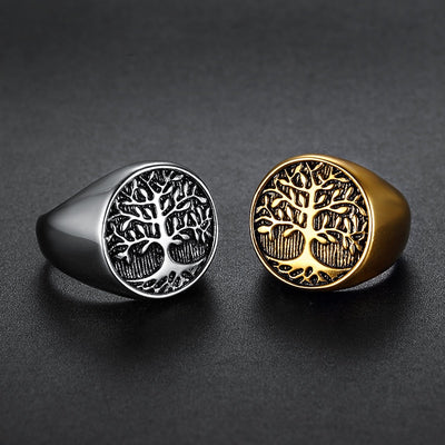 Viking/ Norse Tree Of Life Silver  or Gold-tone Stainless Steel Ring 7-15 Men Unisex