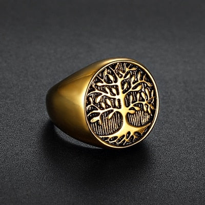 World Tree Silver or Gold Stainless Steel Ring 7-15 Unisex