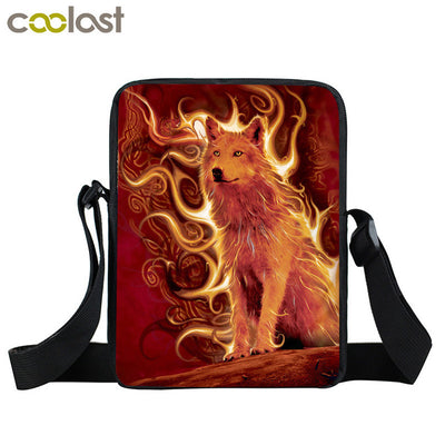 29 Wolf Design Polyester Messenger Bags/ Day Bags with Pocket  Unisex
