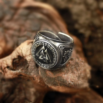 Valknut & Rune Viking Silver Stainless Steel Open Back Ring Size 8-12