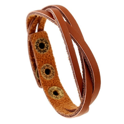 "Loose Weave Leather 5 Colors 3 Snaps Bracelet up to 8.4""  Unisex"
