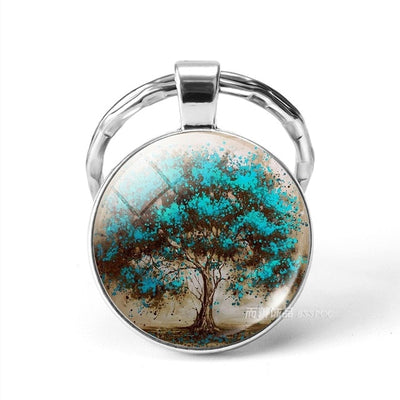 World Tree Yggdrasil 10 Designs Zinc & Glass Key Chains Unisex