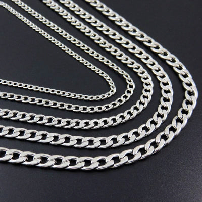 Silver Stainless Steel Link Chain Necklace 18-30 inches Unisex