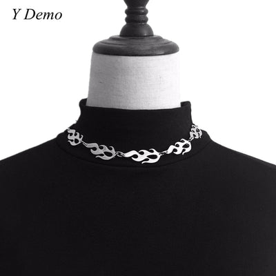 "Flame Choker Silver Stainless Steel 16-18"" Necklace"