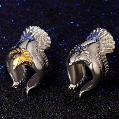 Norse Odin's Eagle 925 Sterling Silver & Gold or Silver Adjust Ring Fits Sizes 8-12 Unisex