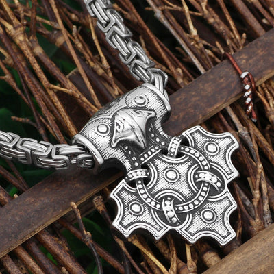"Odin's Raven Artistic Thor Hammer Stainless Steel Pendant 24"" Silver Necklace"