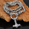 "Viking Warrior Hands Hold Mjolnir Silver Stainless Steel 20"" 24"" 27"" Necklace"