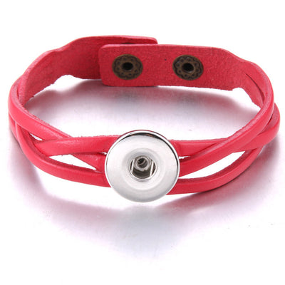 "7 Color Loose Weave Leather Snap Button 7 -3/4"" Bracelet Use 18 mm Snap Buttons"