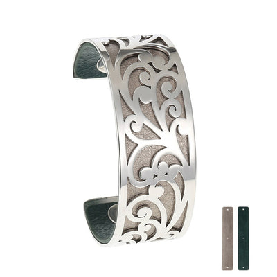 Vintage Flora Stainless Steel Cuff w/ Reversible Leather Colors Band Bracelet