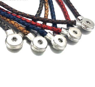 Retro 5 Colors Braided Leather Snap Button (18-20cm) Necklaces Snap Button