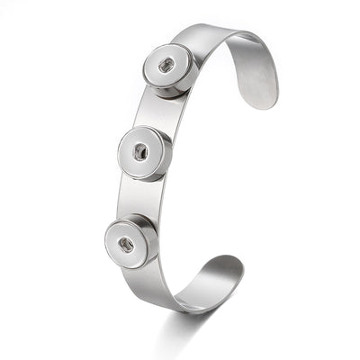 Trendy 316 Stainless Steel Snap Cuff Bracelet 3 Positions (12mm) Snap Buttons