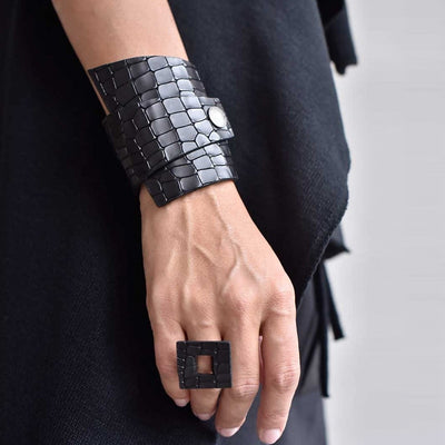 Designer Black Leather Vintage Wrap 2-Snap Cuff Bracelet