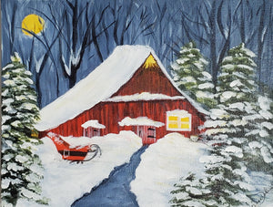 """Magical Christmas Barn and Sleigh"""