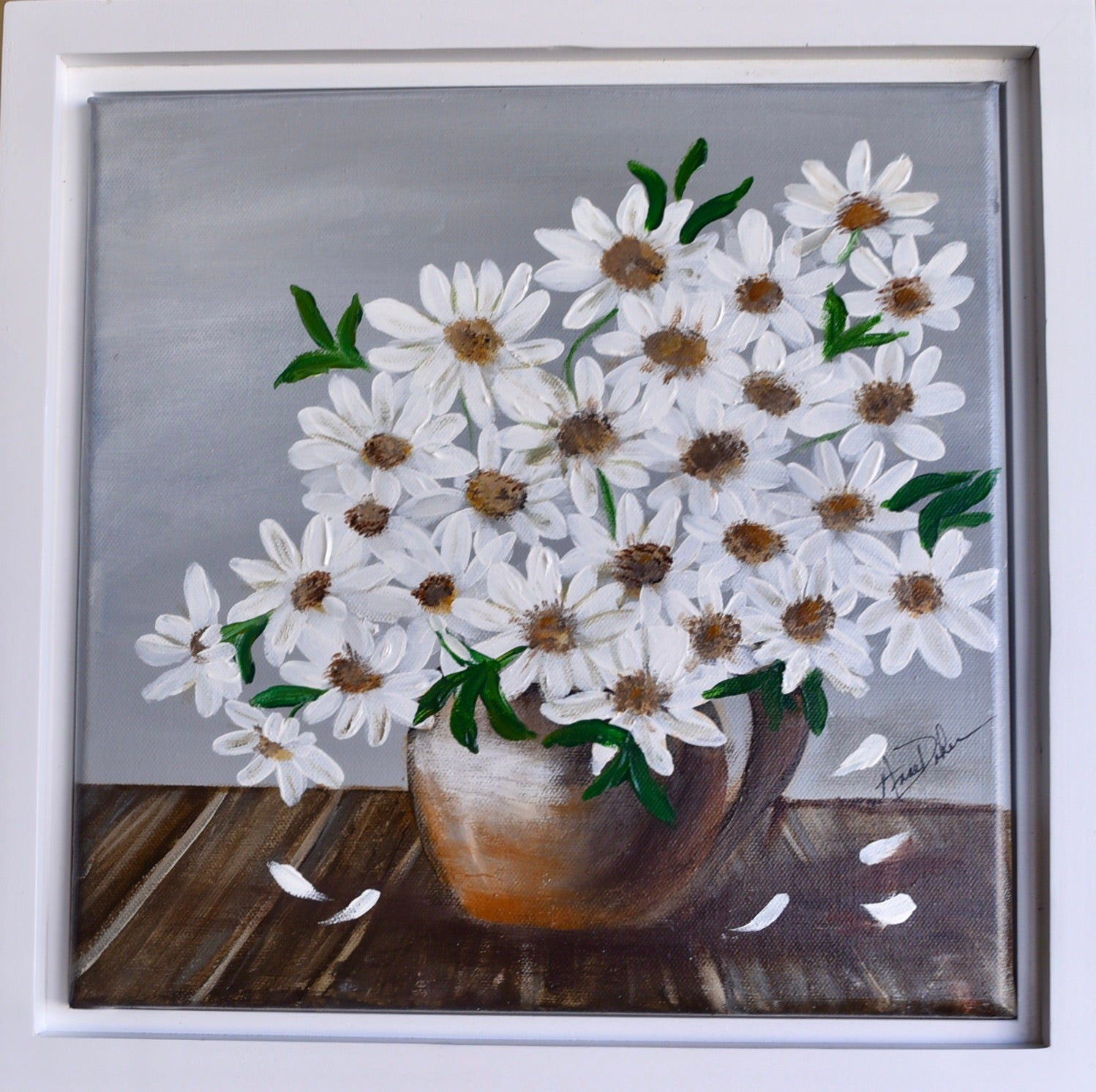 Cheery Pot of Daisies, on Gray Background Framed