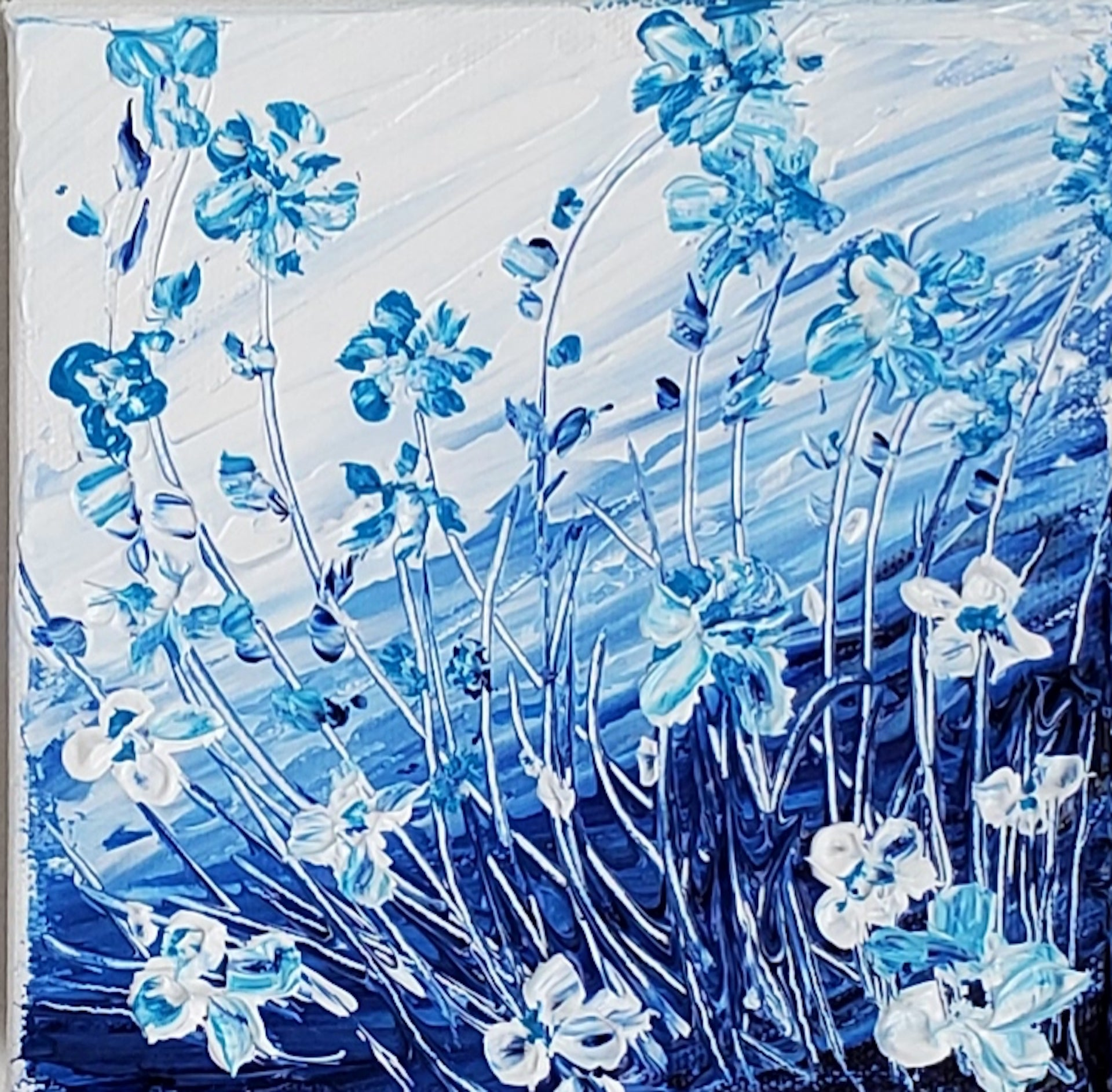 Elclectic Flowers in Blue