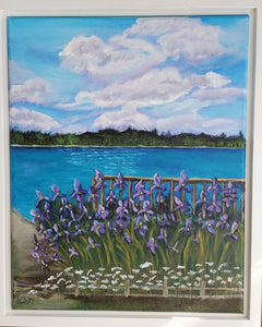 Purple Irises on the Beach