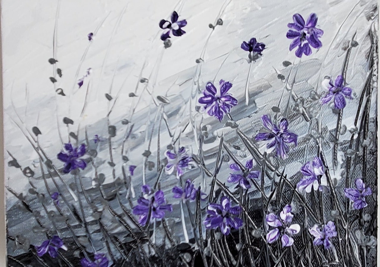 Pops of  Purple -  Flowers on Gray and White Background