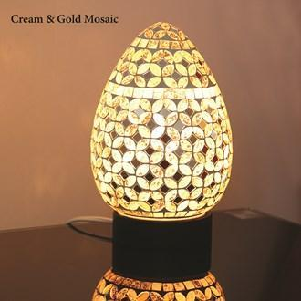 Cream & Gold Mosaic Egg Lamp - Stoves World Ltd