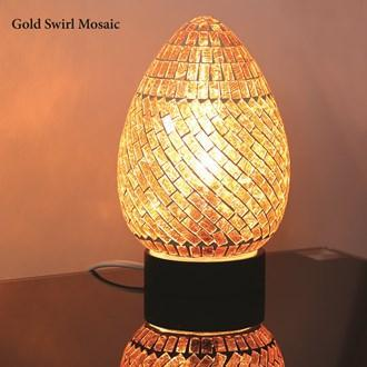 Gold Swirl Mosaic Egg Lamp - Stoves World Ltd