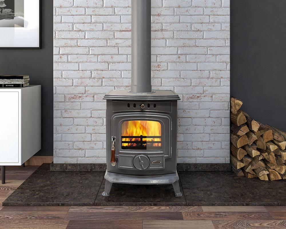 Henley Aran 5kW Multifuel Stove - Enamel French Grey - Stoves World Ltd