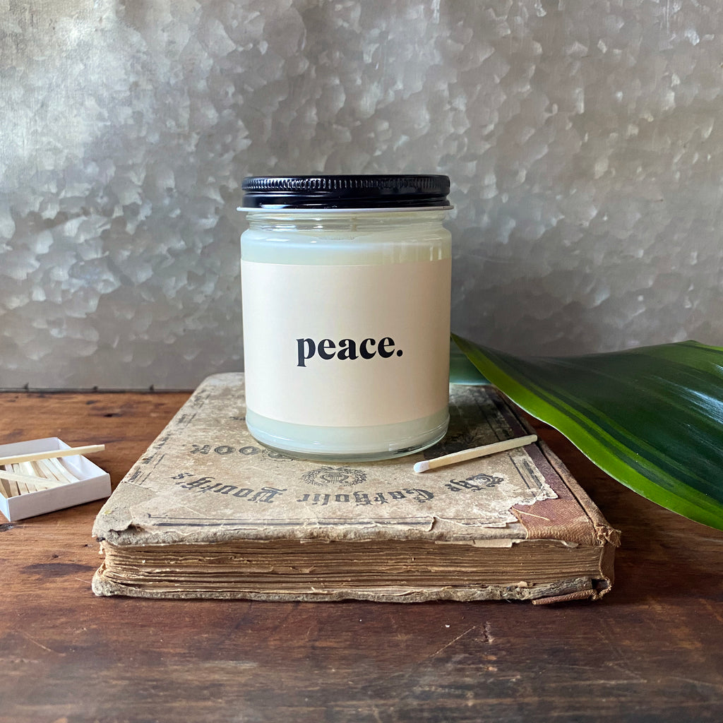 peace. sea salt mist candle