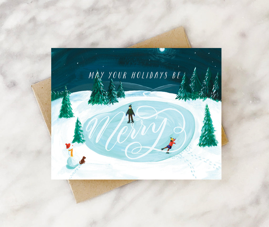 merry skating holiday card