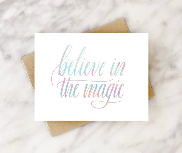 believe in the magic iridescent holiday card