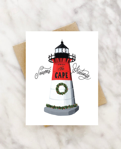 seasons greeting from the cape (nauset lighthouse) holiday card