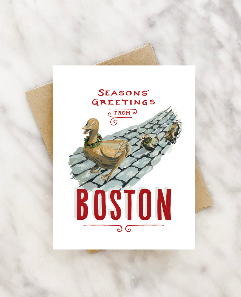 seasons greetings from the boston gardens ducks holiday card