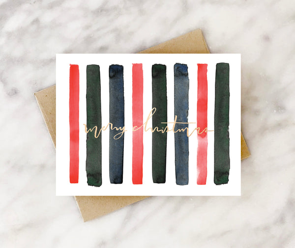 sophisticated stripes merry christmas card