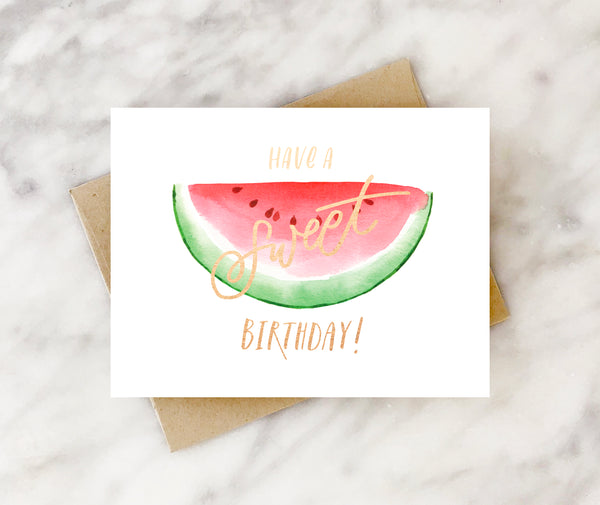 have a sweet birthday watermelon kids birthday card