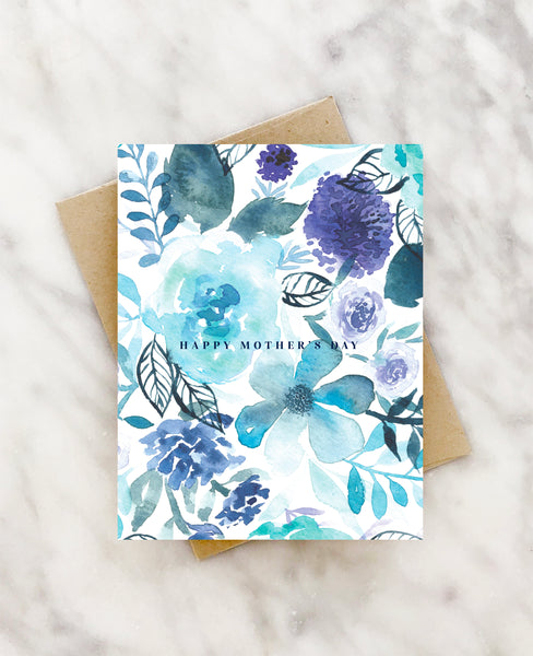 azure floral watercolor