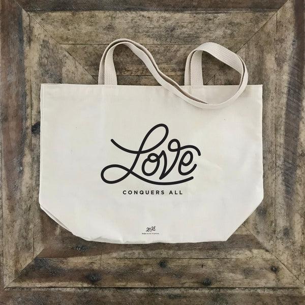 love conquers all market bag