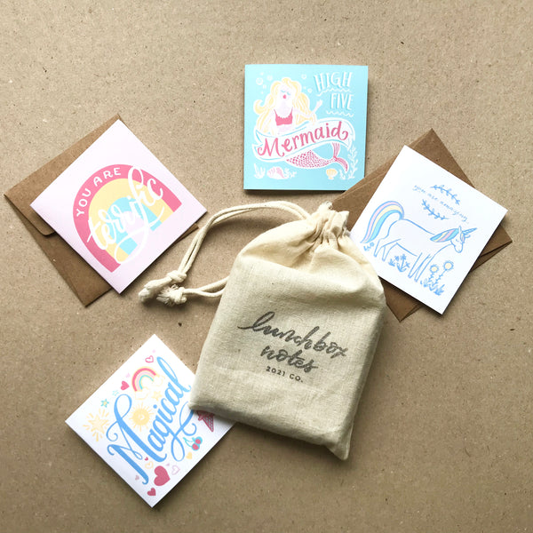 pastel whimsy lunchbox notes
