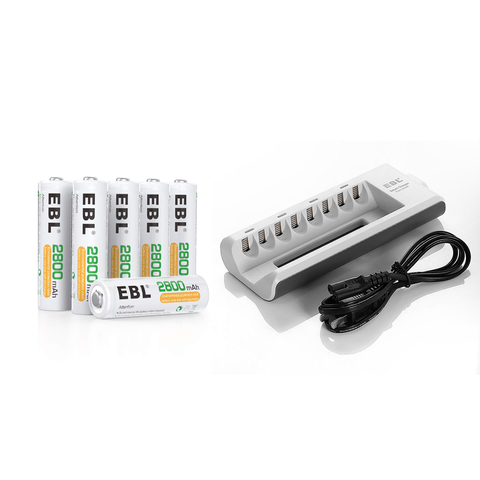EBL Smart Battery Charger + (6-Pack) AA Rechargeable Batteries - Remo+