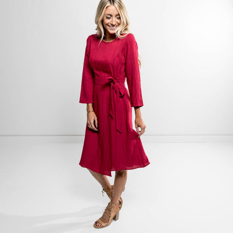Astyn Midi Dress in Cherry