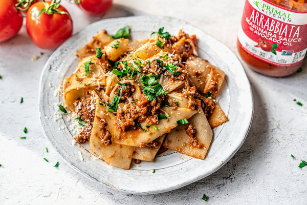 5 Ingredient Pappardelle with Spicy Arrabbiata Meat Sauce