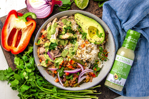 Tex-Mex Chicken Burrito Bowl with Cilantro Lime Dressing