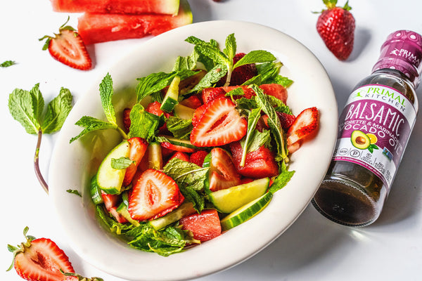 Whole30 & Vegan Watermelon Strawberry Salad with Balsamic and Mint