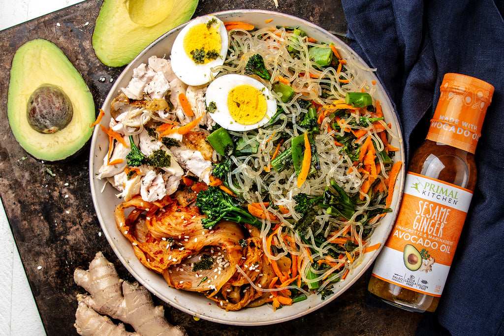 Low-Carb Asian Noodle Bowl with Chicken and Sesame Ginger Dressing
