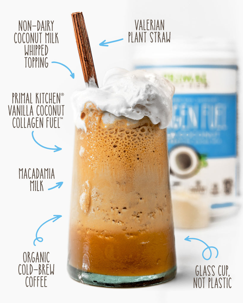 The ingredients for the no-dairy blended collagen iced coffee are called out with a glass of the coffee and a canister of Collagen Fuel in the background.